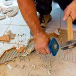 демонтаж плитки на полу