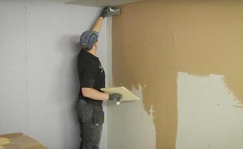 шпатлевание стены из гипсокартона