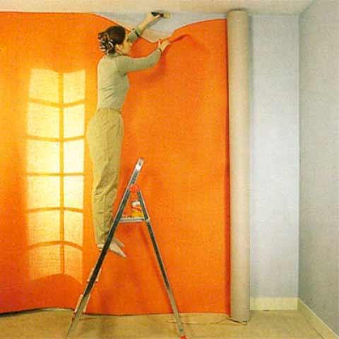 оклеивание стен тканью