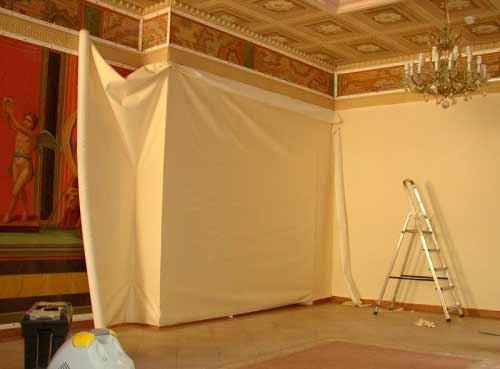 натягивание ткани на стену