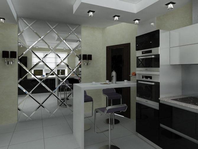 Зеркальная плитка на кухне