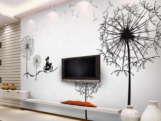 Роспись стен гостинной