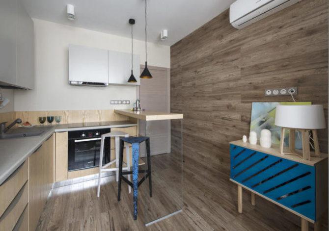 Ламинат на стенах кухни