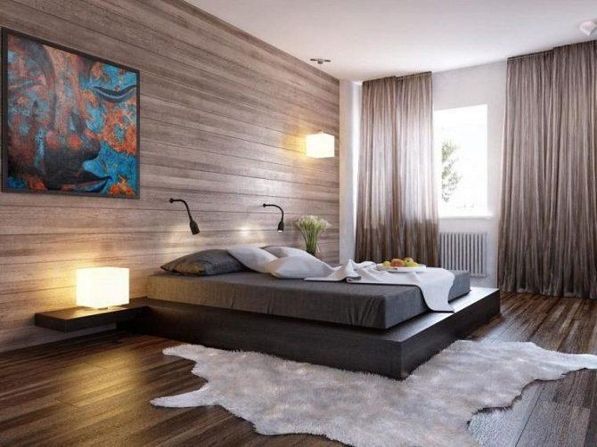 Ламинатные стены в спальне