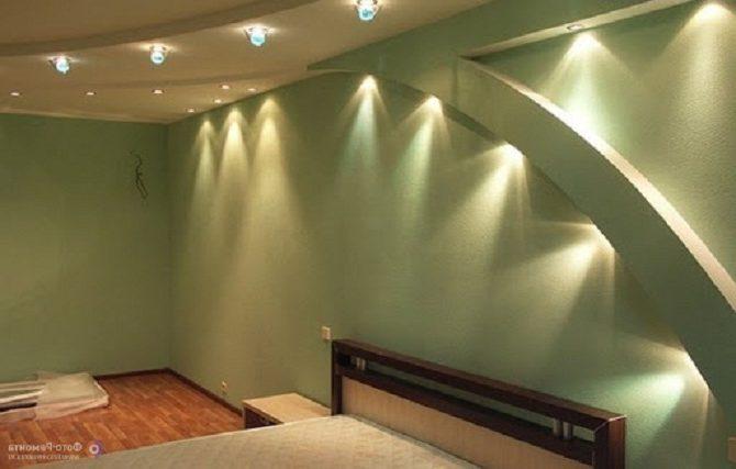 Гипсокартон на стенах спальни
