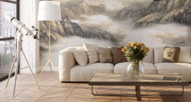 фреска в просторной комнате