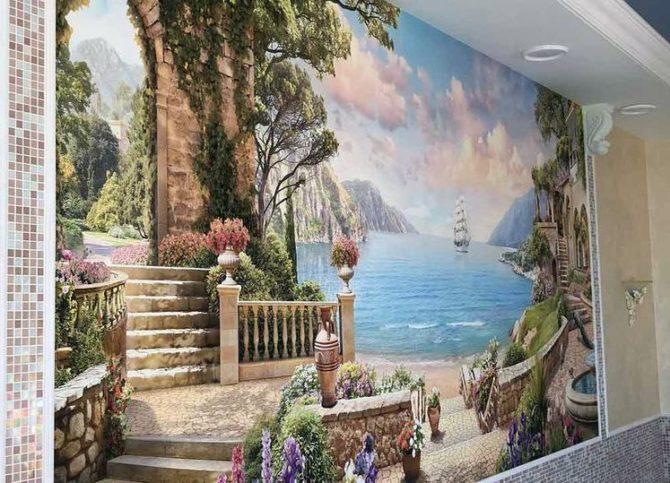 фреска с пейзажем