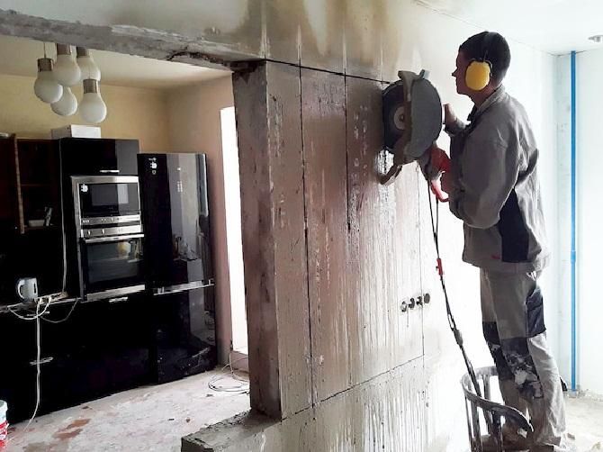 Демонтаж бетонной перегородки
