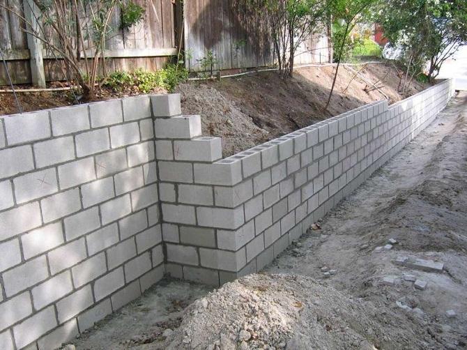 Подпорные стены из пенобетона
